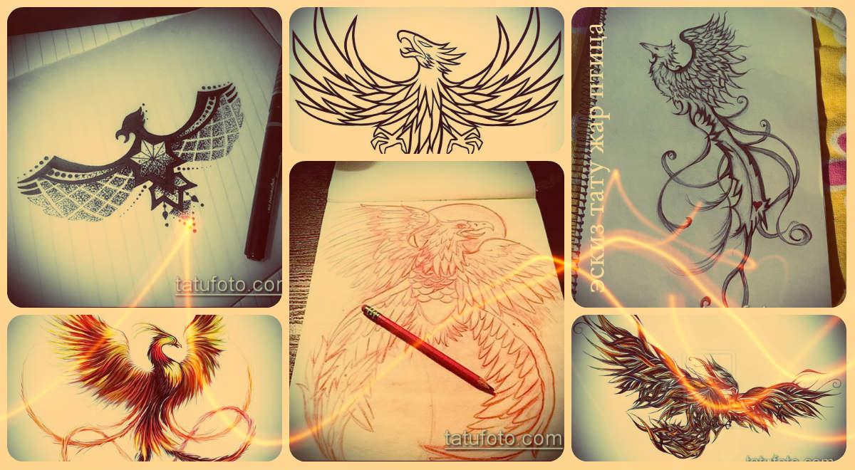 Эскизы тату жар - крутые рисунки для заметной татуировки (феникс)