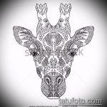 эскиз тату жираф №585 - достойный вариант рисунка, который успешно можно использовать для переделки и нанесения как татуировка жираф на ноге