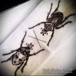 эскиз тату жук №538 - классный вариант рисунка, который хорошо можно использовать для преобразования и нанесения как татуировка жук на запястье