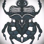 эскиз тату жук №940 - достойный вариант рисунка, который хорошо можно использовать для переделки и нанесения как татуировка жук на плече