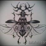 эскиз тату жук №844 - эксклюзивный вариант рисунка, который хорошо можно использовать для доработки и нанесения как татуировка жук носорог