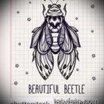 эскиз тату жук №938 - крутой вариант рисунка, который легко можно использовать для преобразования и нанесения как татуировка жук на среднем пальце