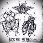 эскиз тату жук №817 - достойный вариант рисунка, который хорошо можно использовать для доработки и нанесения как татуировка жук на шее