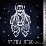эскиз тату жук №114 - прикольный вариант рисунка, который удачно можно использовать для доработки и нанесения как татуировка жук носорог