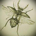 эскиз тату жук №107 - прикольный вариант рисунка, который легко можно использовать для преобразования и нанесения как татуировка жук на запястье