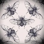 эскиз тату жук №70 - интересный вариант рисунка, который хорошо можно использовать для преобразования и нанесения как татуировка жук на зоне