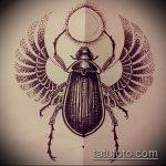 эскиз тату жук №883 - классный вариант рисунка, который легко можно использовать для преобразования и нанесения как татуировка жук на зоне