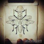 эскиз тату жук №525 - эксклюзивный вариант рисунка, который легко можно использовать для переработки и нанесения как татуировка жук на пальце