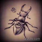 эскиз тату жук №808 - крутой вариант рисунка, который успешно можно использовать для доработки и нанесения как татуировка жук на шее