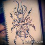 эскиз тату жук №220 - интересный вариант рисунка, который удачно можно использовать для доработки и нанесения как татуировка жук на зоне