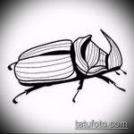 эскиз тату жук №838 - классный вариант рисунка, который удачно можно использовать для доработки и нанесения как татуировка жук на шее