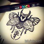 эскиз тату жук №84 - классный вариант рисунка, который удачно можно использовать для доработки и нанесения как татуировка жук на шее