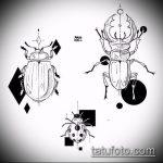 эскиз тату жук №960 - прикольный вариант рисунка, который успешно можно использовать для переделки и нанесения как татуировка жук на среднем пальце