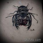 эскиз тату жук №190 - прикольный вариант рисунка, который успешно можно использовать для переделки и нанесения как татуировка жук на руке