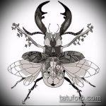 эскиз тату жук №477 - достойный вариант рисунка, который хорошо можно использовать для преобразования и нанесения как татуировка жук на среднем пальце