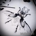 эскиз тату жук №948 - крутой вариант рисунка, который хорошо можно использовать для переделки и нанесения как татуировка жук на плече
