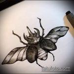 эскиз тату жук №688 - классный вариант рисунка, который удачно можно использовать для переработки и нанесения как татуировка жук носорог