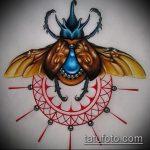 эскиз тату жук №623 - уникальный вариант рисунка, который легко можно использовать для преобразования и нанесения как татуировка жук в клетке