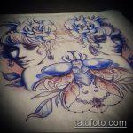 эскиз тату жук №718 - интересный вариант рисунка, который легко можно использовать для переделки и нанесения как татуировка жук на зоне
