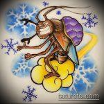 эскиз тату жук №507 - эксклюзивный вариант рисунка, который успешно можно использовать для переработки и нанесения как татуировка жук на шее