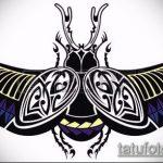 эскиз тату жук №755 - эксклюзивный вариант рисунка, который легко можно использовать для доработки и нанесения как татуировка жук в клетке