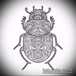 эскиз тату жук №77 - классный вариант рисунка, который хорошо можно использовать для доработки и нанесения как татуировка жук на запястье