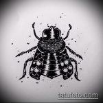 эскиз тату жук №74 - прикольный вариант рисунка, который легко можно использовать для преобразования и нанесения как татуировка жук на зоне