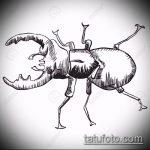 эскиз тату жук №179 - прикольный вариант рисунка, который хорошо можно использовать для переделки и нанесения как татуировка жук на среднем пальце