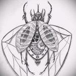 эскиз тату жук №591 - интересный вариант рисунка, который хорошо можно использовать для преобразования и нанесения как татуировка жук на запястье