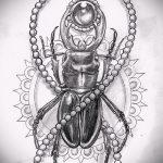 эскиз тату жук №778 - классный вариант рисунка, который успешно можно использовать для переработки и нанесения как татуировка жук на зоне