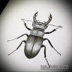 эскиз тату жук №109 - прикольный вариант рисунка, который удачно можно использовать для доработки и нанесения как татуировка жук на пальце