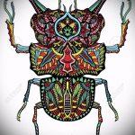 эскиз тату жук №825 - прикольный вариант рисунка, который удачно можно использовать для преобразования и нанесения как татуировка жук носорог