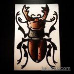 эскиз тату жук №927 - уникальный вариант рисунка, который хорошо можно использовать для переделки и нанесения как татуировка жук на пальце