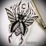 эскиз тату жук №912 - эксклюзивный вариант рисунка, который успешно можно использовать для доработки и нанесения как татуировка жук на пальце
