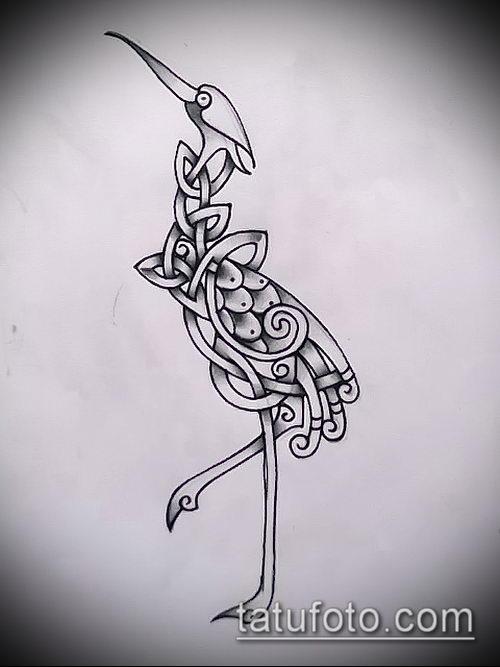 эскиз тату журавль №702 - крутой вариант рисунка, который хорошо можно использовать для доработки и нанесения как эскиз тату журавль оригами