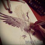 эскиз тату журавль №590 - достойный вариант рисунка, который легко можно использовать для доработки и нанесения как эскиз тату журавль оригами