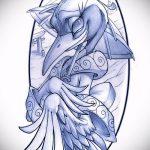 эскиз тату журавль №805 - уникальный вариант рисунка, который успешно можно использовать для доработки и нанесения как эскиз тату журавль оригами
