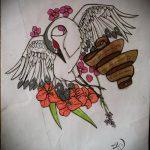 эскиз тату журавль №15 - классный вариант рисунка, который хорошо можно использовать для переработки и нанесения как татуировка журавль на лопатке