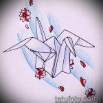 эскиз тату журавль №911 - эксклюзивный вариант рисунка, который успешно можно использовать для переделки и нанесения как эскиз тату журавль оригами