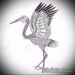 эскиз тату журавль №595 - классный вариант рисунка, который хорошо можно использовать для переработки и нанесения как татуировка журавль на руке