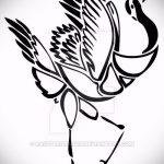 эскиз тату журавль №406 - интересный вариант рисунка, который хорошо можно использовать для переработки и нанесения как татуировка журавль на руке