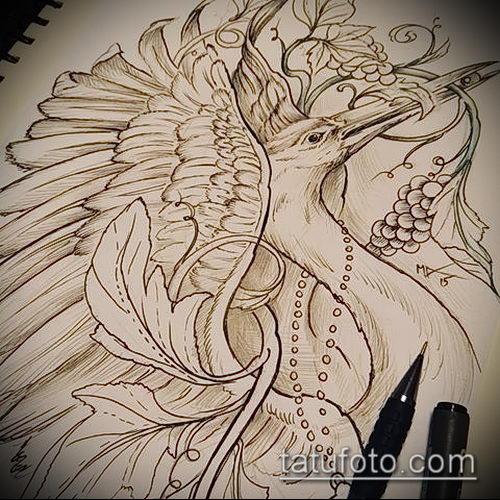 эскиз тату журавль №274 - эксклюзивный вариант рисунка, который хорошо можно использовать для переделки и нанесения как эскиз тату журавль оригами