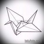 эскиз тату журавль №503 - уникальный вариант рисунка, который легко можно использовать для переработки и нанесения как эскиз тату журавль оригами