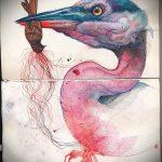 эскиз тату журавль №443 - интересный вариант рисунка, который удачно можно использовать для переделки и нанесения как эскиз тату журавль оригами