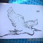 эскиз тату журавль №534 - эксклюзивный вариант рисунка, который удачно можно использовать для переделки и нанесения как эскиз тату журавль оригами