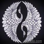 эскиз тату журавль №807 - крутой вариант рисунка, который легко можно использовать для доработки и нанесения как эскиз тату журавль оригами