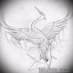 эскиз тату журавль №204 - уникальный вариант рисунка, который хорошо можно использовать для переделки и нанесения как татуировка журавль на руке
