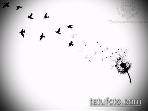 фото одуванчик с птицами (Dandelion Tatto) (значение) - пример рисунка - 002 tatufoto.com