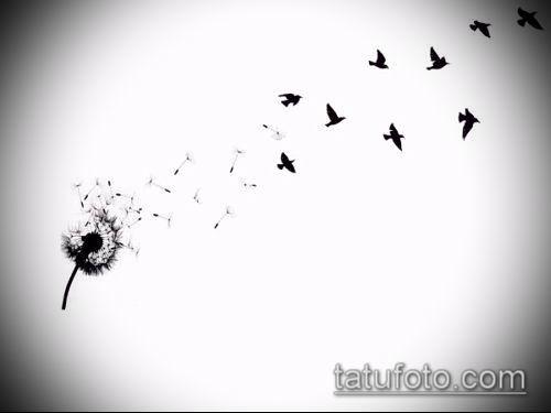 фото одуванчик с птицами (Dandelion Tatto) (значение) - пример рисунка - 005 tatufoto.com