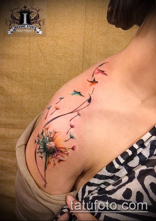 фото одуванчик с птицами (Dandelion Tatto) (значение) - пример рисунка - 076 tatufoto.com